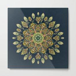 Gardenia Window Mandala Metal Print