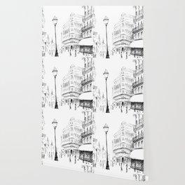 Sketch of a Street in Paris Wallpaper