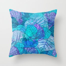 Leaves in Rosy Background 3 Throw Pillow