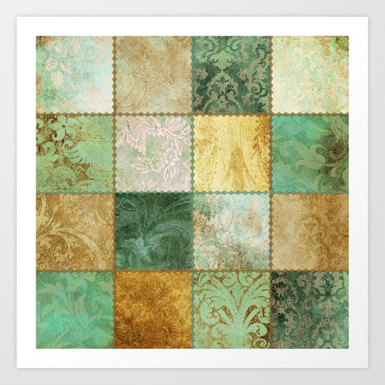 Copper Patchwork Art Print