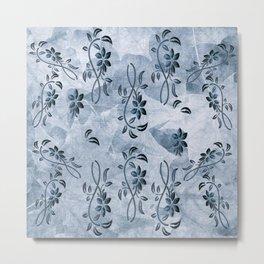 Blue Floral Paint Drops Metal Print