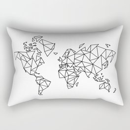 Geometric Low Poly Map of The World / Polygon geometry Rectangular Pillow