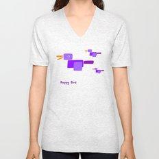 Happy Bird-Purple Unisex V-Neck