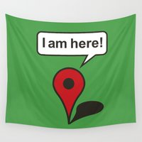 maps Wall Tapestries featuring I am here! Google Maps by Laundry Factory