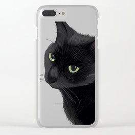 Black cat in the dark Clear iPhone Case