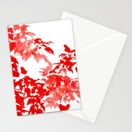 Red Leave Silhouette Stationery Cards