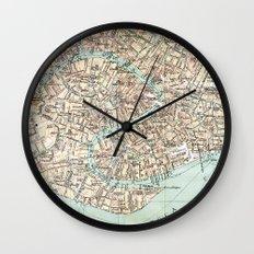 Vintage Venice Map Wall Clock