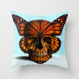 SKULL (MONARCH BUTTERFLY) Throw Pillow