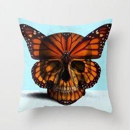 SKULL (MONARCH BUTTERFLY) Throw Pillow