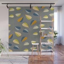 Mid Century Modern Graphic Leaves Pattern 3. dark grey Wall Mural