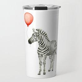 Baby Zebra with Red Balloon Travel Mug