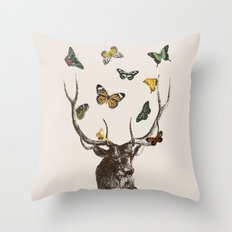 The Stag and Butterflies Throw Pillow