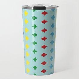 Colorful crosses stitches aligned on blue background Travel Mug
