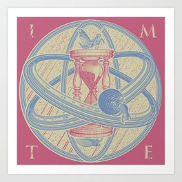 Time Infinity System. Orbit, sandglass, scarab, cicada, mantis. Engraving illustration. Part 1. Art Print
