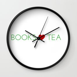 Books Love Tea Green Lettering with Red Heart Wall Clock
