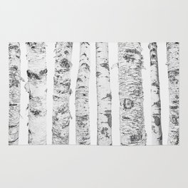 Birch Trees | Forest Landscape Photography Minimalism Rug