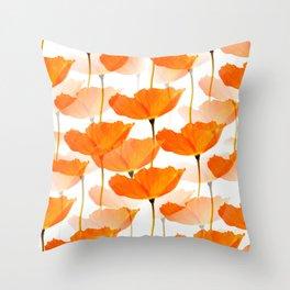 Orange Poppies On A White Background #decor #society6 #buyart Throw Pillow