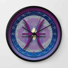 Flower of Life PISCES Astrology Design Wall Clock