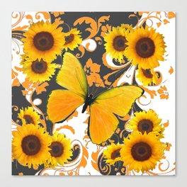 GOLDEN BUTTERFLY & SUNFLOWERS ARABESQUES Canvas Print