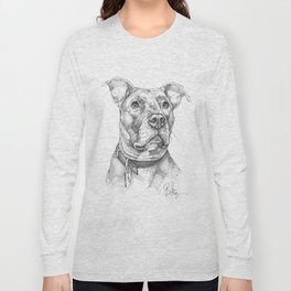 """Hank"" the Rescue Blue Nose Pitbull Staffordshire Terrier Long Sleeve T-shirt"