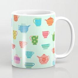 Tea Time on Soft Mint (teacups, mugs & teapots pattern) Coffee Mug