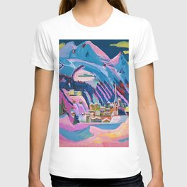 Davos, Swiss Alps in Winter Mountain Landscape by Ernst Ludwig Kirchner T-shirt