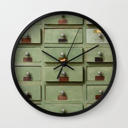 Old wooden cabinet with drawers Wall Clock