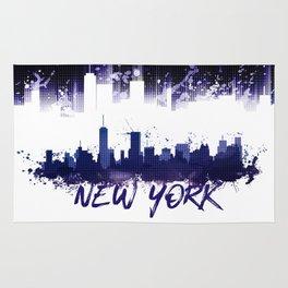 Graphic Art NYC Skyline Splashes | purple Rug