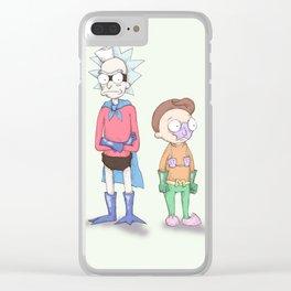 Mermaid Morty & Barnacle Rick Clear iPhone Case