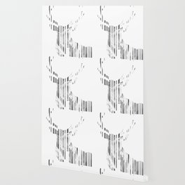 Geometric black Stag Wallpaper