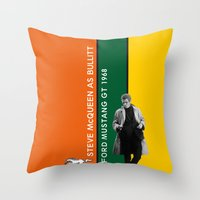 steve mcqueen Throw Pillows featuring Bullitt, Steve McQueen, Ford Mustang GT 1968. Vintage Print Poster Decoration by Vintage Deco Print Posters