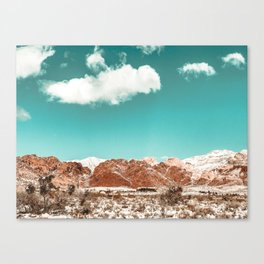 Vintage Red Rocks // Snow in the Mojave Desert Clouds Teal Sky Mountain Range Landscape Canvas Print
