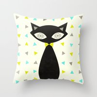 mid century Throw Pillows featuring Mid Century Cat  by Laura Ruth