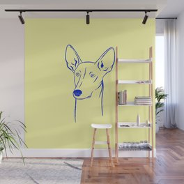 Ibizan Hound (Pale Yellow and Blue) Wall Mural