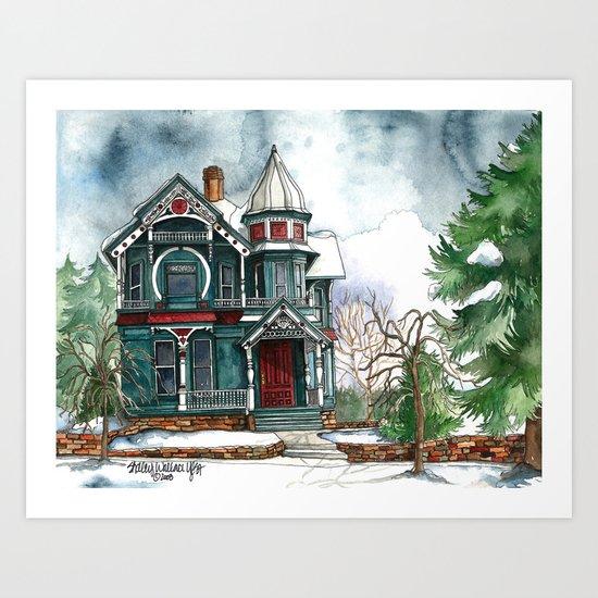 Blue House on a Grey Day Art Print