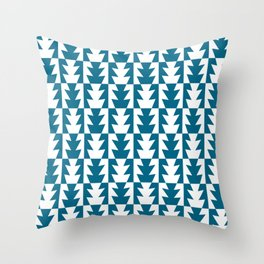 Art Deco Jagged Edge Pattern Peacock Blue Throw Pillow