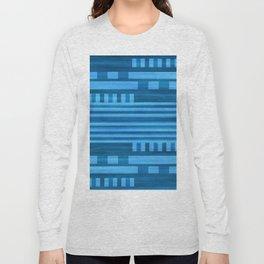 Art Deco Geometric Pattern Blue Long Sleeve T-shirt
