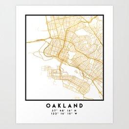 OAKLAND CALIFORNIA CITY STREET MAP ART Art Print