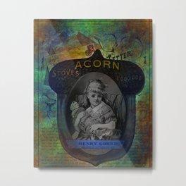 Mixed Media Ephemera Acorn By Moon Willow Designs Metal Print