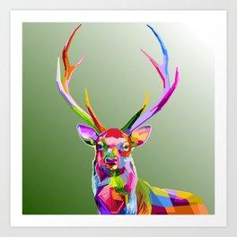 Colorful decoration of deer Art Print
