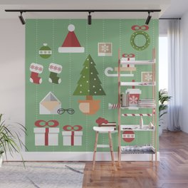Christmas objects drawings on green bacgkround Wall Mural