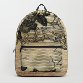 Black floral lace on wood  -Elegant and luxury design for women Backpack