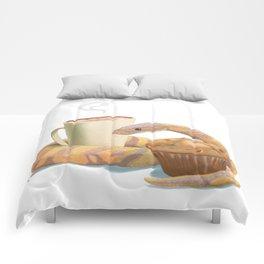 Banana snake, banana muffin, and chai latte Comforters