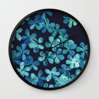 stickers Wall Clocks featuring Hand Painted Floral Pattern in Teal & Navy Blue by micklyn