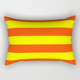 Bright Neon Orange and Yellow Horizontal Cabana Tent Stripes Rectangular Pillow