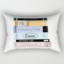 Jane Austen Book Stack in Colour Rectangular Pillow