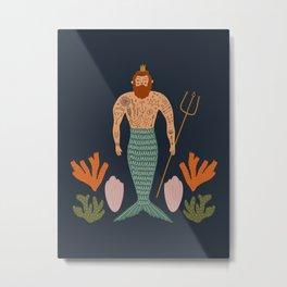 Hipster Mermaid Merman With Tattoos Poseidon King Of The Sea Midcentury Modern Cool Magical Mystical Abstract Art Bohemian Boho Style Trendy  Metal Print