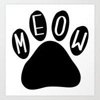 Meow Cat Paw Art Print
