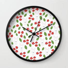 Cute rabbits and flowers Wall Clock