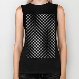 Dotted Grid 45 Black Biker Tank
